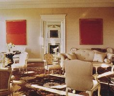 Anne and Sid Bass' living room in New York, mid-1980s.  Decorated by Mark Hampton.  Paintings are by Mark Rothko