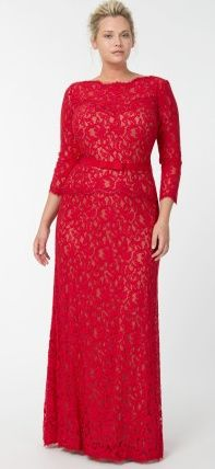 Lace Boatneck ¾ Sleeve Gown with Grosgrain Ribbon Belt in Flame / Nude - Fall / Holiday Pre-Order - Plus Size Evening Shop Plus Size Formal, Plus Size Prom, Plus Size Gowns, Plus Size Outfits, Plus Size Evening Gown, Evening Gowns, Non White Wedding Dresses, Vestidos Plus Size, Looks Plus Size