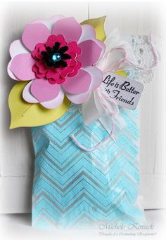 Michele has a great tutotorial for using our Chevron Stripe Background Stamps on glassine bags