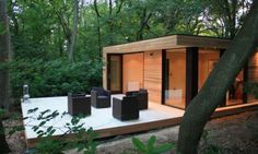 Contemporary Yard Wooden Small wood House Eco Friendly , Garden Studio Design