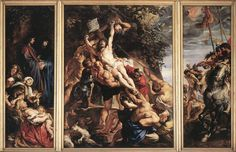 """PETER PAUL RUBENS: Elevation of the Cross,  oil on wood, center panel, 15'2"""" x 11'1"""", 1610, Antwerp Cathedral. Rubens explored foreshortened anatomy and violent action. LINK to the Antwerp Cathedral to see laarge images of all Ruben's painting in the cathedral."""