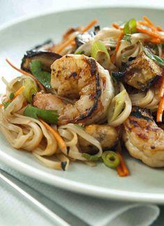 Grilled Shrimp and Eggplant Summer Noodle Bowls Recipe