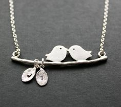 Kissing love birds necklace, personalized engraved initial