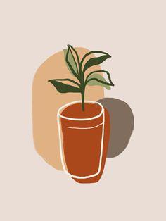 Afrique Art, Abstract Line Art, Plant Art, Plant Painting, Diy Canvas Art, Canvas Paintings, Botanical Art, Aesthetic Art, Printable Art