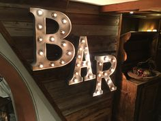 Retro / Fairground light up letters with cabochon bulbs for a BAR sign. #retro…