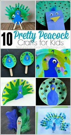 I HEART CRAFTY THINGS: 10 Pretty Peacock Crafts for Kids If you really like arts and crafts an individual will enjoy this cool website! Daycare Crafts, Toddler Crafts, Preschool Crafts, Diy Crafts For Kids, Fun Crafts, Art For Kids, Party Crafts, Kids Fun, Letter P Crafts
