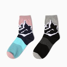 >> Click to Buy << Yizi Novelty Neutral Cartoon Socks Creative Women and Men Snow Mountain Illustration Socks Retro Couple Cotton Socks #Affiliate