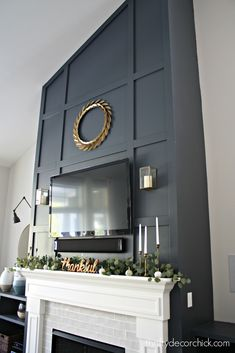 How to give a tall fireplace wall a ton of character and drama with molding and paint. Fireplace Molding, Fireplace Accent Walls, Fireplace Redo, Tall Fireplace, Fireplace Remodel, Fireplace Design, Fireplace Makeovers, Fireplace Mantles, Stone Fireplaces