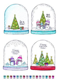 This set contains 10 elements, and the Snowy Snow Globe stamps will create gorgeously classic Christmas cards. Christmas Themes, Christmas 2019, Christmas Topper, Hunky Dory, Create And Craft, Digital Stamps, Snow Globes, Swatch, Birthday Cards