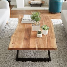 Boho Living Room Decor Inspiration - Impress your guests and give your home a boho modern makeover with this Agra coffee table. This wood - Diy Coffee Table, Decorating Coffee Tables, Coffee Table Design, Modern Coffee Tables, Natural Wood Coffee Table, Rustic Wooden Coffee Table, Wood Slab Table, Natural Coffee, Coffee Table Styling