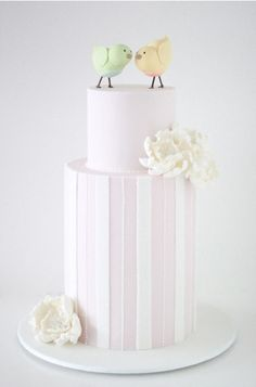 Love birds bridal shower cake