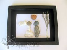 Original Wedding Gifts - Personalized Wedding Art - Unique Engagement Gifts - Pebble Stone Art - Couple's Gift
