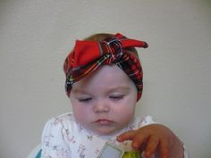 Baby Headwrap Red Plaid Headband Baby Girl by Goodtreasures123