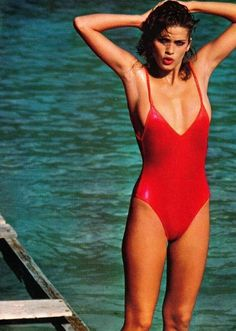Vogue US May 1980 - Gia Carangi by Francesco Scavullo: Vintage Red One Piece Swimsuit @Coveteur