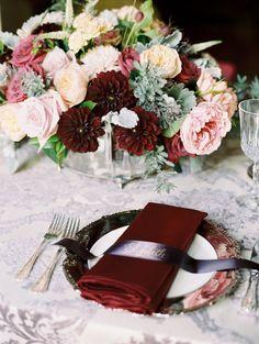 Luxe jewel tone fall & winter wedding decor: http://www.stylemepretty.com/2015/09/30/romantic-fall-art-museum-wedding-editorial/ | Photography: Abby Jiu - http://abbyjiu.com/