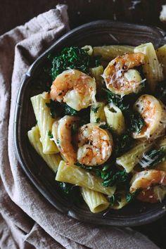 Roasted Shrimp and Kale Rigatoni with Lemon-Ricotta Sauce I http://foolproofliving.com