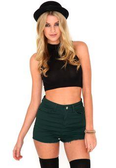 Romie Denim Shorts In Deep Green