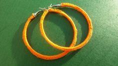 Handmade Crochet  Hoop Earring   Orange #AnithaEmmanuel #Hoop