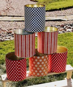 SimplyCumorah: Carnival Party ~ Behind the Scenes-just use large veggie cans & cover with fun stock paper. (Or really any design for a holiday/party) Circus Carnival Party, Kids Carnival, Carnival Birthday Parties, Carnival Games, Birthday Party Themes, Carnival Ideas, Circus Theme, Birthday Ideas, Carnaval Vintage