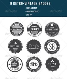 9 Retro Vintage Badges Template | Buy and Download: http://graphicriver.net/item/9-retro-vintage-badges/8553141?WT.ac=category_thumb&WT.z_author=xelm&ref=ksioks