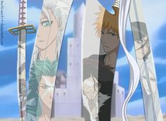 Toshiro, Ichigo, Byakuya and Rukia with their Zanpaktou
