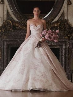 Romona Keveza floral patterned ballgown A-line wedding dress