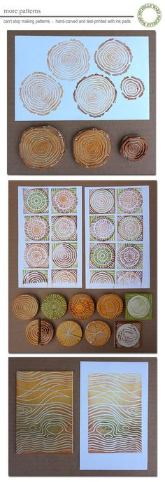 MWzenpatterns - more carvings to assist in printmaking patterns Log Slices, Wooden Slices, Gelli Printing, Screen Printing, Printing On Fabric, Stencil Printing, Printmaking Ideas, Tampons, Wood Stamp