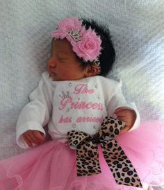 The Princess has arrived embroidered newborn baby girl outfit infant tutu bow headband rhinestone tiara coming home from the hospital outfit...