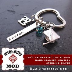 Graduation Gift  Personalized Keychain  by wickedlymodpendants, $64.00