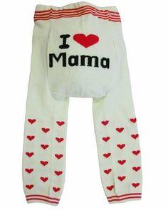 """Dotty Fish - Jambières en laine """"I Love Mama"""" pour bébés et jeunes enfants Rose de Busha."""