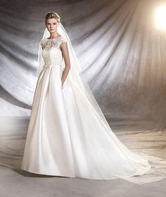 OSASUN - Vestido de noiva de mikado, tule e renda estilo princesa