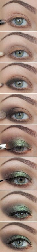 By Miss Louie. Here is a great simple tutorial on how to create a smokey green/brown eye. I'm obsessed with this combo for fall.