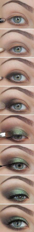 Green eye makeup.