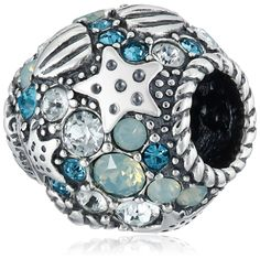 Chamilia Sterling Silver and Swarovski Crystal Buried Treasure Bead Charm