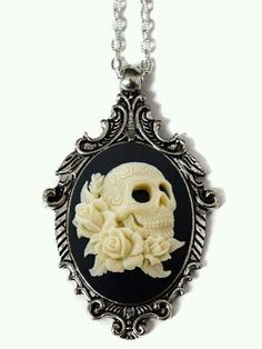 """Gothic Jewelry Diy """"Day of the Dead Gothic Skull"""" Cameo Necklace by Couture By Lolita (Black) Goth Jewelry, Skull Jewelry, Jewelery, Jewelry Accessories, Jewelry Necklaces, Gothic Jewellery, Cameo Jewelry, Pearl Necklaces, Cameo Necklace"""