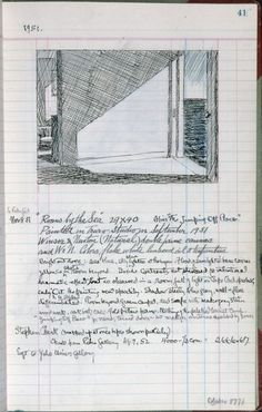 "piquantpaint: "" Rooms by the Sea Edward Hopper. - Page 41 from Artist's Ledger - Book III Edward Hopper. Ink, graphite, and colored pencil on. Moleskine, Artist Sketchbook, Sketchbook Pages, Map Mind, Ashcan School, Whitney Museum, Sketchbook Inspiration, Art Sketches, Book Art"