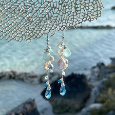 @bzahida9273 posted to Instagram: Handmade gemstone sterling silver dangle earrings with aqua chalcedony, keishi pearls, aquamarine, morganite and Swarovski Crystal, the colours pick up the aqua blue and the deep blue sea, this has a wonderful calming effect. Beautiful pastel colours!! 🦋💧💦💎#\#🦋🦋 www.etsy.com/shop/ZahidasJewellery #uniquejewelry #gemstonejewellery #gemstoneearrings #etsyuk #etsysellersofinstagram #etsyshop #etsys Aquamarine Earrings, Gemstone Earrings, Crystal Earrings, Dangly Earrings, Sterling Silver Dangle Earrings, Cluster Earrings, Drop Earrings, Handmade Jewelry Designs, Handmade Jewellery