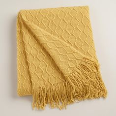 Add color and comfort to any space with our plush throw, featuring an eye-catching yellow wave design and fringe tassels. Yellow Throw Blanket, Wave Design, Affordable Home Decor, World Market, Modern Bohemian, Throw Pillows, Throw Blankets, Living Room, Living Spaces