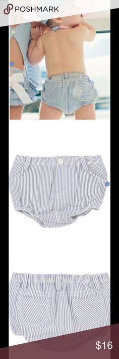 Pinstriped Bloomers These lightweight cotton bloomers are perfect to slip on over a diaper, and keep your little one looking adorable. Faux front pockets, functional back pockets. Elastic waistband and legs. Belt loops. Rugged Butts Bottoms Shorts