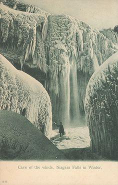 """Cave of the winds, Niagara Falls in Winter."" Circa1901-1907."