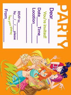 """""""Winx Club features Bloom and her five best friends (Stella, Musa, Tecna, Flora, and Layla) and is situated mainly in the magical universe and on Earth. They call themselves """"the Winx C… Winx Club, Club Das Winx, Fairy Party Invitations, Baby Girl Invitations, Fairy Birthday Party, 4th Birthday Parties, Birthday Ideas, Printable Invitation Templates, Party Printables"""
