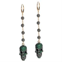 ☠ Emerald PAVÉ Crowned Skull Drop Earrings ~ Naughty but nice earrings feature diamond bead details (2.40 cts total), and emerald-encrusted skulls (2.65 cts each) sculpted from oxidized sterling silver. The findings are made of 18K gold $ 4,000.00 ~ by Jessica Kagan Cushman ☠