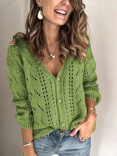 Casual Sweaters, Sweaters For Women, Look Blazer, Casual Fall, Long Sleeve Sweater, Sweater Cardigan, Ideias Fashion, Knitwear, Sleeves