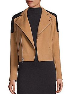 Polo Ralph Lauren Wool & Cashmere Leather-Trim Bomber camel Jacket