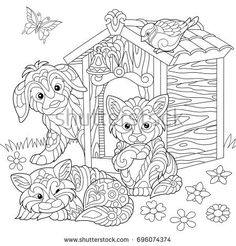 Coloring page of dog, two cats, sparrow bird and butterfly. Freehand sketch drawing for adult antistress coloring book in zentangle style.