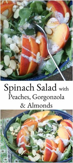 Could You Eat Pizza With Sort Two Diabetic Issues? Your Taste Buds Will Be Singing With This Spinach Salad With Peaches, Gorgonzola And Almonds. One Of My Favorite Summer Salads Via Aggieskitchen # Lettuce Salad Recipes, Side Salad Recipes, Chicken Salad Recipes, Healthy Salad Recipes, Real Food Recipes, Cooking Recipes, Coleslaw Recipes, Avocado Salads, Spinach Salads