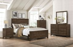 Transform your bedroom into a forest retreat with this Tacoma six-piece king bedroom package. Plentiful deep drawers with simple brass hardware offer you lots of space in which to organize your clothing and linens. At the centre of the package, the king-size bed offers an inviting space to retreat to each night, setting a stylish tone with its richly detailed panels. Throughout this set, hand-distressed pine veneers give these matching items the dark and rustic look of the west coast woods…