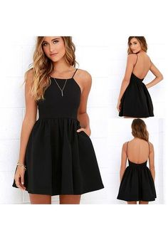 Buy Black Plain Pleated Spaghetti Strap Backless Round Neck Mini Dress online with cheap prices and discover fashion Mini Dresses,Dresses,Midi Banquet Dresses, Hoco Dresses, Dresses For Teens, Cheap Dresses, Pretty Dresses, Homecoming Dresses, Casual Dresses, Sexy Dresses, Mini Dresses