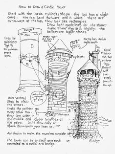 Drawing Techniques How to Draw Worksheets for The Young Artist: How to Draw A Castle Tower. Art Lessons, Basic Drawing, Castle Drawing, Young Artist, Urban Sketching, Sketches, Sketch Book, Art Drawings, Drawings