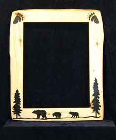 Rustic Wooden Picture Frames | Aspen Wood Framed Mirrors Rustic Wood Décor Handcarved Frames ...